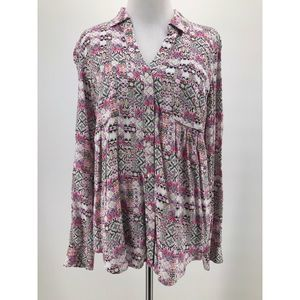 Maeve White Pink Button-Up Roll Tab Blouse Size XS